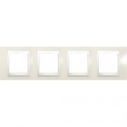 Рамка 4-я Unica Хамелеон Кремовый глянцевый для горизонтального монтажа