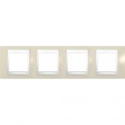 Рамка 4-я Unica Хамелеон Песчаный/Белый для горизонтального монтажа