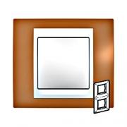 Рамка 2-я Unica Хамелеон Оранжевый/Белый для вертикального монтажа