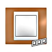 Рамка 3-я Unica Хамелеон Оранжевый/Белый для горизонтального монтажа