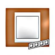 Рамка 4-я Unica Хамелеон Оранжевый/Белый для горизонтального монтажа