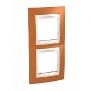 Рамка 2-я Unica Хамелеон Оранжевый/Бежевый для вертикального монтажа