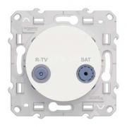 Розетка R-TV\SAT проходная белый ODACE c монтажными лапками