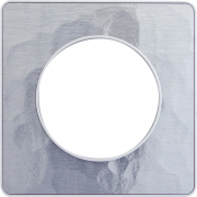 Рамка Odace, 1-я Алюминий Martele, вставка белая