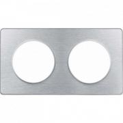 Рамка Odace, 2-я Полированный алюминий, вставка алюминий