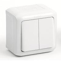 Проходной выключатель 2-клавишный IP-44 Legrand Quteo (Белый)
