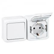 Выключатель + Розетка с заземлением и шторками IP-44 Legrand Quteo (Белый)