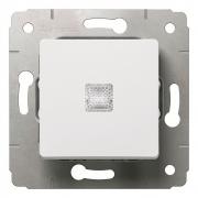 Выключатель 1-клавишный, без фиксации, с подсветкой, 10А, 250В, белый, Cariva