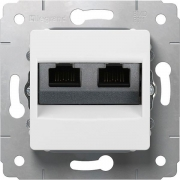 Модуль розетки 2хRJ45 UTP Кат.6, белый, Cariva