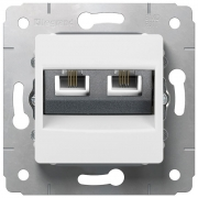 Розетка телефонная 2хRJ11, белая, Cariva