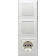 Блок 3-постовой: выключатель 10А + выключатель 2-клавишный 10А + розетка 2К+3 16А, белый, Cariva