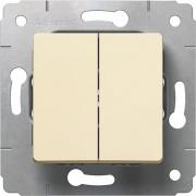 Выключатель 2-клавишный, 10АХ, 250В, слоновая кость, Cariva