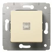 Выключатель 1-клавишный, без фиксации, с подсветкой, 10А, 250В, слоновая кость, Cariva