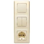 Блок 3-постовой: выключатель 10А + выключатель 2-клавишный 10А + розетка 2К+3 16А, слоновая кость, Cariva