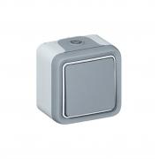 Выключатель 1-кл. серый Plexo