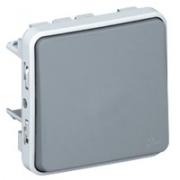 Переключатель однополюсный 10A, серый, IP55 Plexo