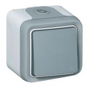 Переключатель одноклавишный на 2 направления, 10А, IP55, для накладного монтажа, серый Plexo