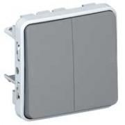 Переключатель двухклавишный на 2 направления, 10 А, 250 В, IP 55, серый Plexo