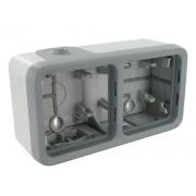 Коробка для накладного монтажа ,IP 55, 2П, горизонтальная, серая, Plexo