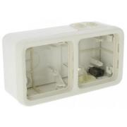 Коробка для накладного монтажа с мембранными сальниками,IP 55, 2П, горизонтальная, белая Plexo