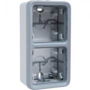 Коробка для накладного монтажа с мембранными сальниками, для вертикальной установки, 2 ввода, IP55, серая Plexo