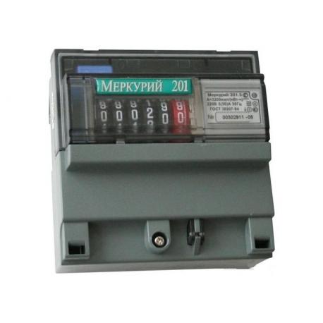 Счетчик электроэнергии однофазный однотарифный Меркурий 201.5 60/5 Т1 D 220В ОУ (201.5)