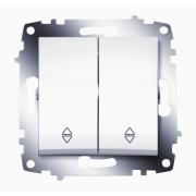 Переключатель двухклавишный ABB Cosmo (Белый)