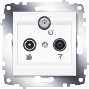 Розетка TV, радио и спутник оконечная ABB Cosmo (Белый)
