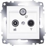 Розетка TV, радио и спутник проходная ABB Cosmo (Белый)