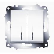 Выключатель двухклавишный ABB Cosmo с подсветкой (Белый)