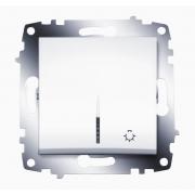 Кнопка одноклавишная ABB Cosmo с подсветкой (Белый)