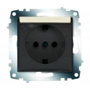 Розетка электрическая с крышкой с заземлением ABB Cosmo (Кремовый)