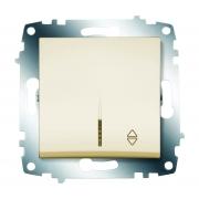 Переключатель одноклавишный ABB Cosmo с подсветкой (Кремовый)