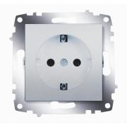 Розетка электрическая с заземлением ABB Cosmo (Алюминий)