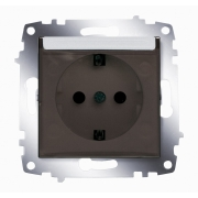 Розетка электрическая с крышкой с заземлением ABB Cosmo (Алюминий)