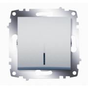 Выключатель одноклавишный ABB Cosmo с подсветкой (Алюминий)