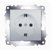 Розетка электрическая с заземлением со шторками ABB Cosmo (Алюминий)