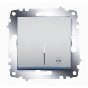 Переключатель одноклавишный ABB Cosmo с подсветкой (Алюминий)