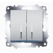 Выключатель двухклавишный ABB Cosmo с подсветкой (Алюминий)