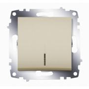 Выключатель одноклавишный ABB Cosmo с подсветкой (Титаниум)