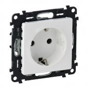 Розетка электрическая с заземлением со шторками, автоматические клеммы Valena Life (белая)
