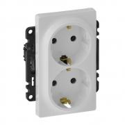Двойная розетка электрическая без заземления со шторками Valena Life (белая)