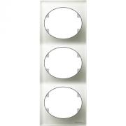 Рамка трехместная вертикальная ABB Tacto (Белое стекло)