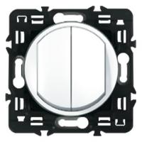 Выключатель (переключатель) двухклавишный Legrand Celiane с клавишей (белый)