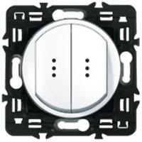 Выключатель (переключатель) двухклавишный с подсветкой Legrand Celiane (белый)