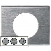 Рамка Legrand Сeliane трехместная (фактурная сталь)