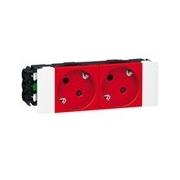 Розетка двойная с заземлением и механической блокировкой, для кабель-каналов DLP, Legrand Mosaic (красная)