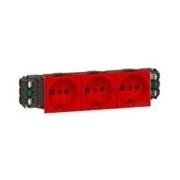 Розетка тройная с заземлением и механической блокировкой, для кабель-каналов DLP, Легран Мозаик (красная)