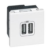 Зарядка USB, двойная, Легран Мозаик (белая)