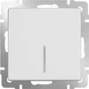 Выключатель одноклавишный проходной с подсветкой белый Werkel a030765 WL01-SW-1G-2W-LED